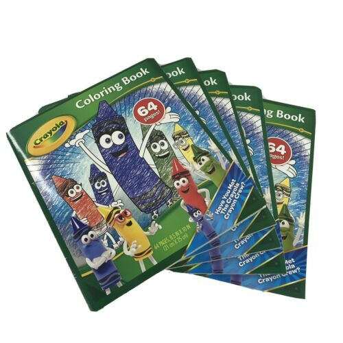 Crayola Coloring Books Set Of 5 64 Pages Each 8.5x11 Features Crayon Crew -OH - $19.99