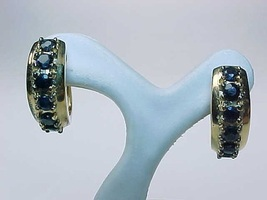 SAPPHIRE HOOP EARRINGS in Yellow Gold over Sterling Silver - FREE SHIPPING - $75.00