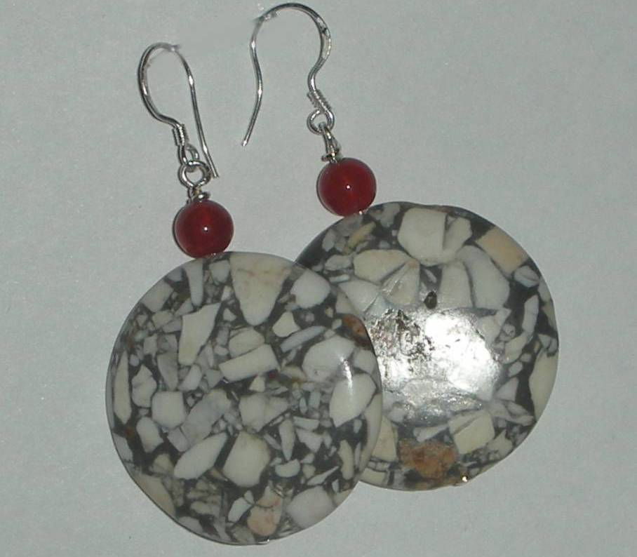 GORGEOUS WHITE TURQUOISE AND CARNELIAN BEADS EARRINGS