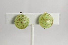 DECO Jewelry LIME AVENTURINE Art Glass VENETIAN MURANO Sommerso EARRINGS - $25.00