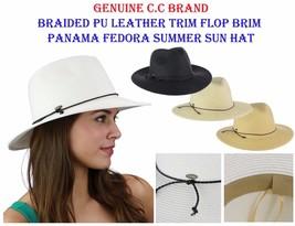 Genunie C.C Braided PU Leather Trim Flop Brim Panama Fedora Summer CC Su... - $14.99