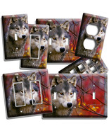 GRAY WOLF IN THE WOODS AUTUMN FOREST LIGHT SWITCH WALL PLATE OUTLET HOME DECOR - $8.99 - $10.79
