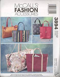 Uncut Bags Totes Carry Alls Bags Fashion Accessories McCalls 3894 Pattern