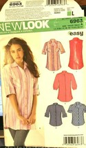 New Look 6963 Misses Shirts 6 Sizes In 1 Sizes 8-18 Easy Uncut Sewing Pattern - $12.71