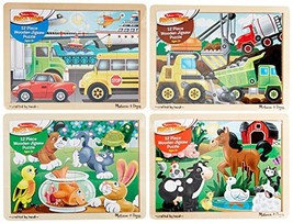 Melissa & Doug Wooden Jigsaw Puzzles Set: Vehicles, Pets, Construction, and Farm - $38.56