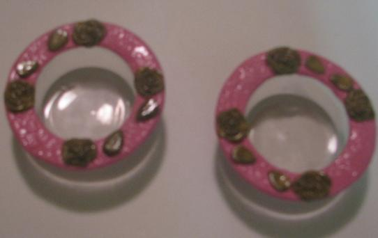 Pink and  Gold Rose Polymer Clay Tealite Holders