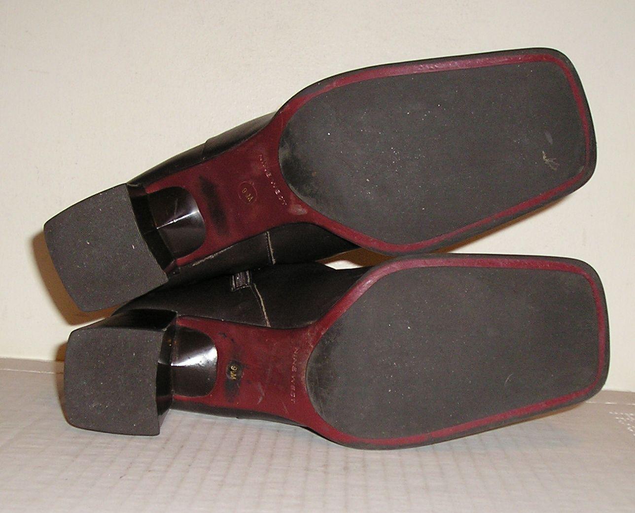 NINE WEST ZAMIR Women's Dark Brown Leather Dress Fashion Ankle Boots Shoes 9.5 M