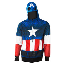 Captain America Full Zip Costume Hoodie Blue - $35.98