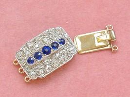 ANTIQUE ART DECO 1.95ctw DIAMOND SAPPHIRE TRIPLE STRAND NECKLACE CLASP 1930 - $2,965.05