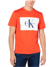 Mens Calvin Klein Monogram Crewneck T-Shirt - Orange [41J7206 822] - $24.50