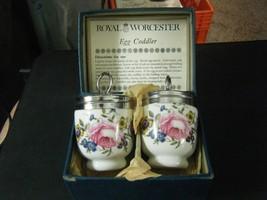 Pair of Royal Worcester of England Porcelain Floral Pattern Egg Coddlers - $29.69