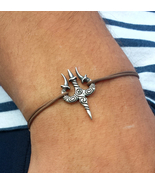 Trishul Bracelet, Sterling silver charm, Shiva's trident, divine trinity - $46.00