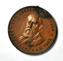 1902 Indianapolis Indiana Annual Encampment Civil War Medal Harrison 36mm - $29.69