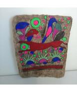 Vintage Mexican Indian AMATE Folk Painting on Bark Paper Birds, Deer, Fl... - $33.81