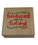 Homemade For The Holidays Rubber Stamp New Christmas Goodies Wood Mounted - $6.30