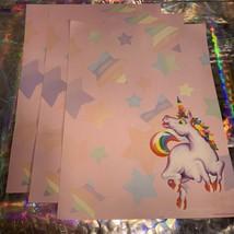 3x Lisa Frank Vintage Markie Unicorn Stationery (B) Sheets Classic HTF image 2