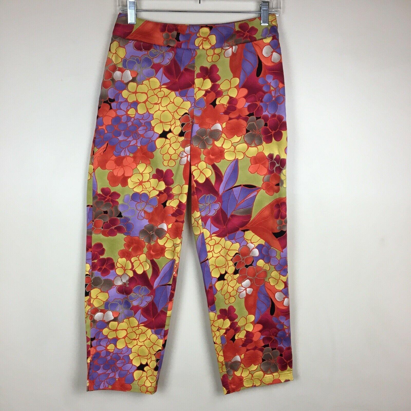Talbots Petites Stretch Bright Colorful Capri Cropped Pants Slimming Petite 4 - $19.79