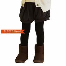 Girls Winter Fleece Lined Tights Black White Lt. grey Plain fleece Black, M - $13.35