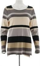 Isaac Mizrahi Striped Color Block Long Slv Tunic Neutral M NEW A295814 - $21.76