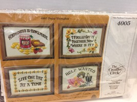 Vintage Creative Circle Kit Daily Thoughts Includes 4 Frames # 4005 Needlework - $7.69