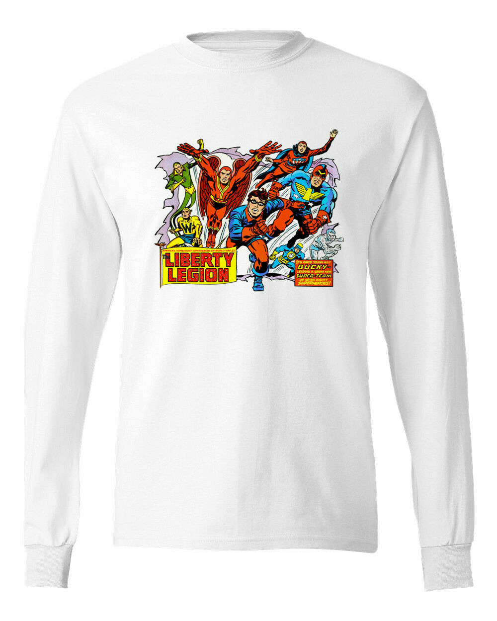 Liberty Legion T shirt retro Marvel Comics Bucky cotton long sleeve graphic tee