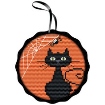 Spooky Black Cat Kit halloween cross stitch kit Colonial Needle  - $16.20