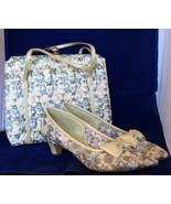 1960s Purse and Shoes Set Paradise Kittens Floral Embroidery Matching Set - $78.00