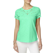 Charter Club Cotton Cutout-Detail Embroidered Top, Opal, XS - $18.40