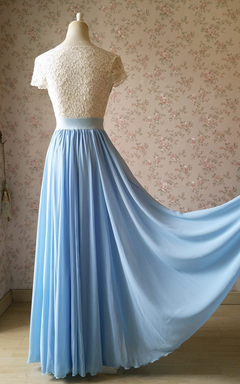 Lightblue maxi skirt chiffon wedding beach 780 6