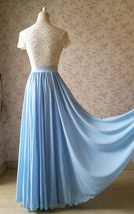 Blue Wedding Chiffon Skirt Flowy Blue Bridesmaid Chiffon Skirts Plus Size image 2
