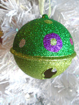 Christmas Tree Ornament Light Green Dark Green Glitter Bell Polka Dots - $7.99