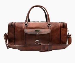"Genuine Goat Leather 23"" Vintage Duffel Weekend Gym Overnight Travel Bag - $91.03"