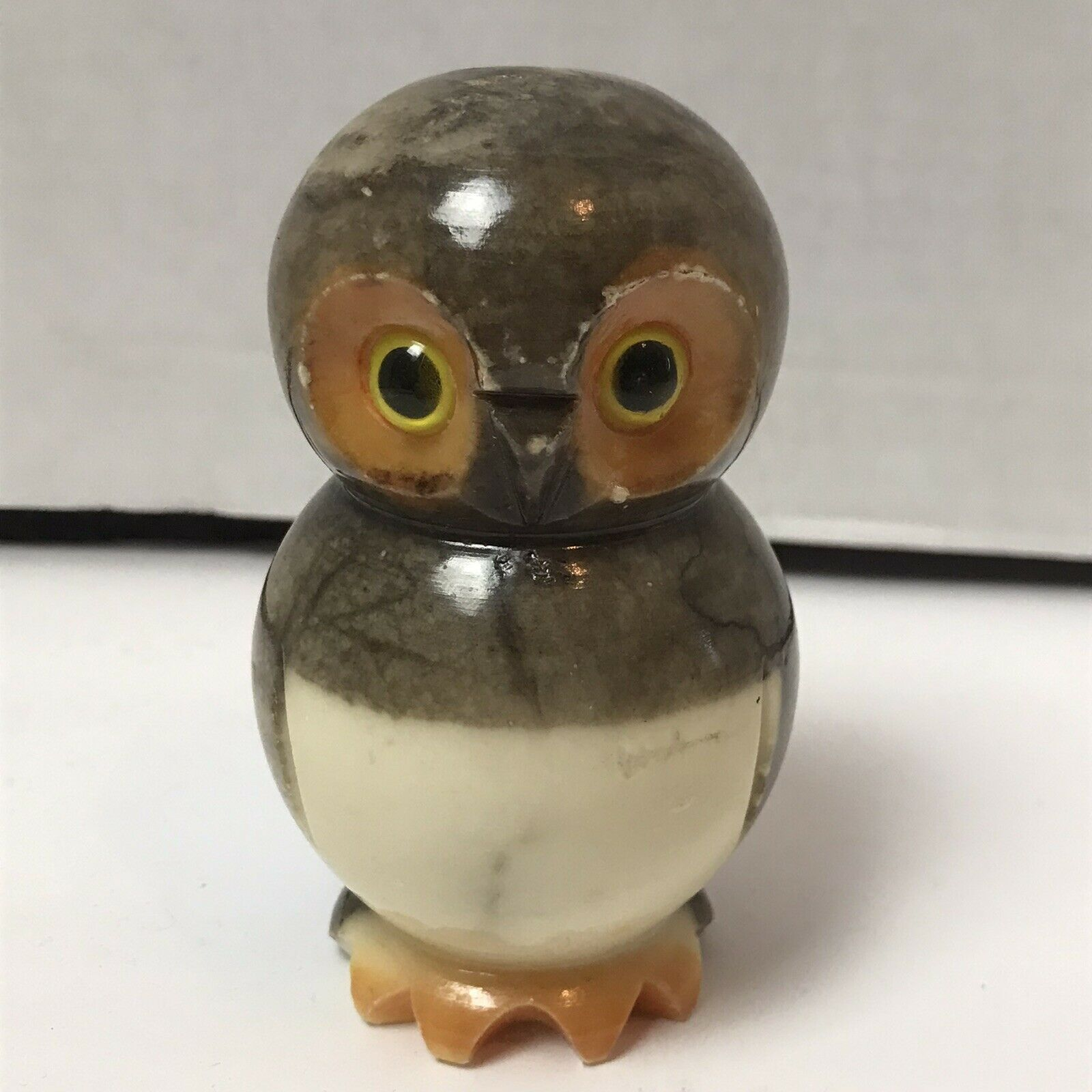 Primary image for Vintage Alabaster Natural Stone Carved Owl Figurine Italy Kitsch