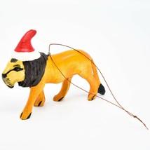 Hand Carved Painted Jacaranda Wood Santa Hat Lion Safari Christmas Ornament image 2