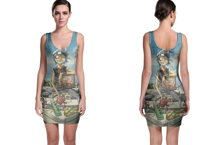 Gorillaz on boat women s sleevless bodycon dress