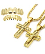 14k Gold Plated High Fashion Cross Pendant Sets 2mm 24 & 30 Rope chain w... - $16.82