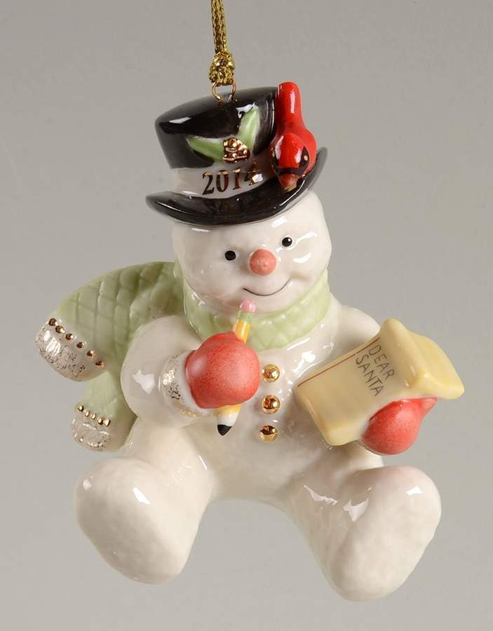 Lenox 2014 Snowman Figurine Ornament Annual Making  List For Santa Christmas NEW