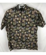 Hilo Hattie Mens 2XL Button Up Hawaiian Shirt, Brown Lavender with Palm ... - $32.73