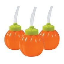 Pumpkin Cups with lids and straws (set of 12) Halloween Party Supplies - $29.16