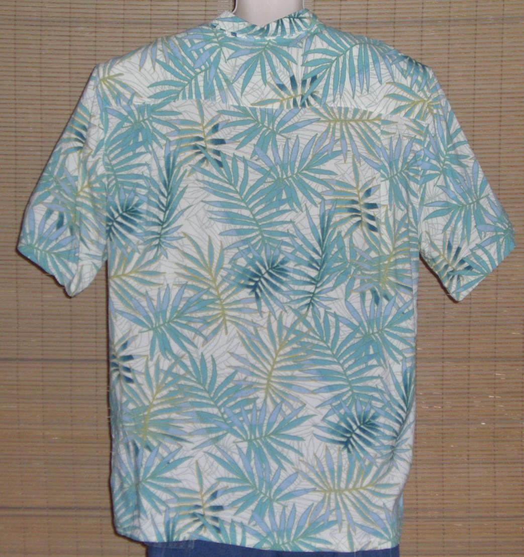 Joe Marlin Hawaiian Shirt White Turquoise Blue Gold Palm Leaves Size XXL