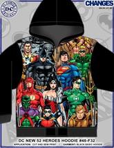 Dc Comics 52 Heroes Flash Superman Aqua Man Batman Sublimation Zip Up Hoodie - $54.24