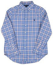 Polo Ralph Lauren Boys Blue Orange Plaid Button Down Shirt Large L 14-16 9046-3 - $40.72