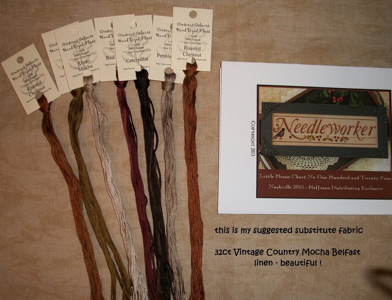 Needleworker fabric floss 32ct vintage country mocha linen 2