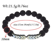 Color 2 Lava Rock Bead Arrow Diffuser Natural Stone Bracelets 8mm  - $12.66