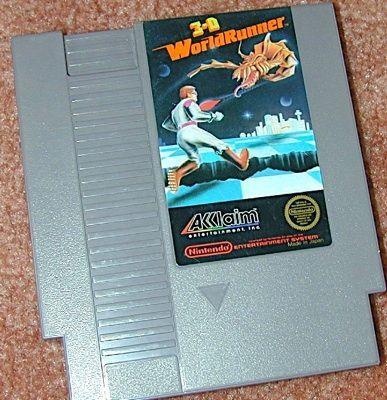 3-D WORLDRUNNER NES game+FREE SIGNED TRADING CARD
