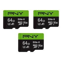 PNY 64GB Elite-X Class 10 U3 V30 microSDXC Flash Memory Card 3-Pack - 10... - $51.99