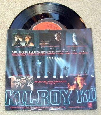 1980 STYX Mr. Roboto / Snowblind (Killroy) 45 RPM~Vinyl