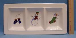 Three Sectioned Ceramic Serving Dish White with Winter Holiday Christmas... - ₨1,142.79 INR