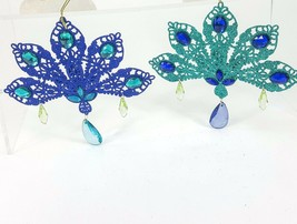 """Peacock Blue & Green Glitter Tail Feather 6"""" Metal Ornament Set w/ Faux ... - $19.26"""