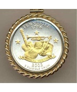 State of Tennessee, 2-Toned, Gold on Silver, U.S. Quarter Pendant & 14k ... - $132.00